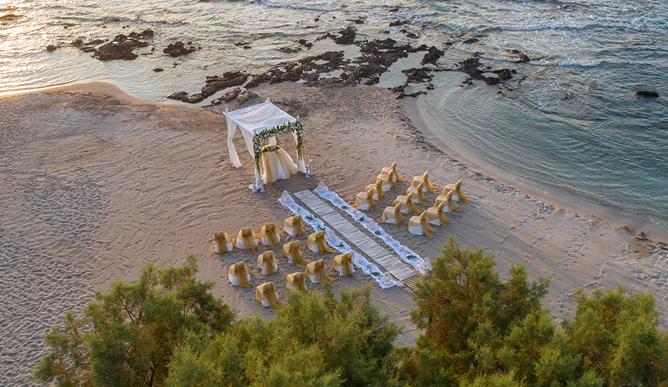 Airview of beach wedding setup